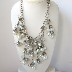 Pearl And Beads Cluster Silvertone Chain Necklace